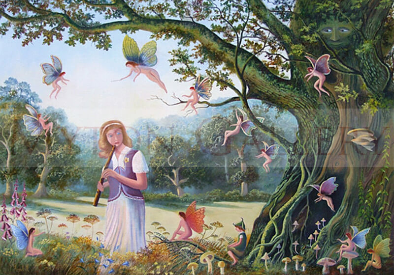 Fairies and girl picture by artist Bruce Kendall