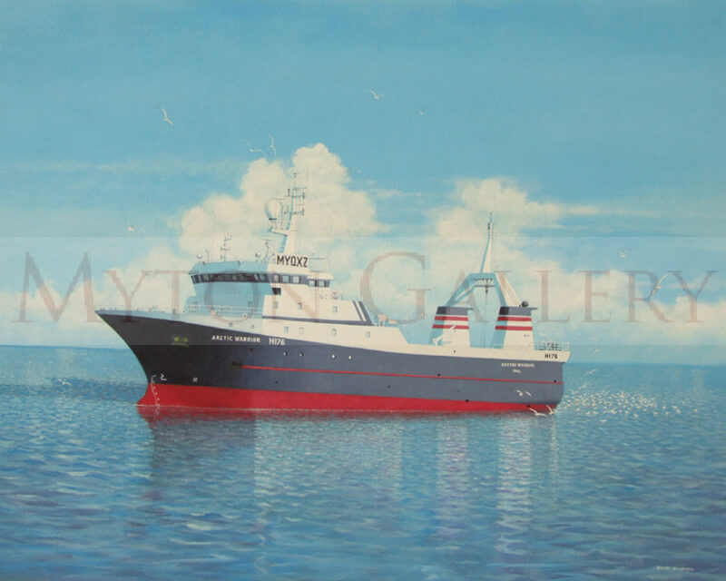 painting of hull factory trawler arctic warrior H176