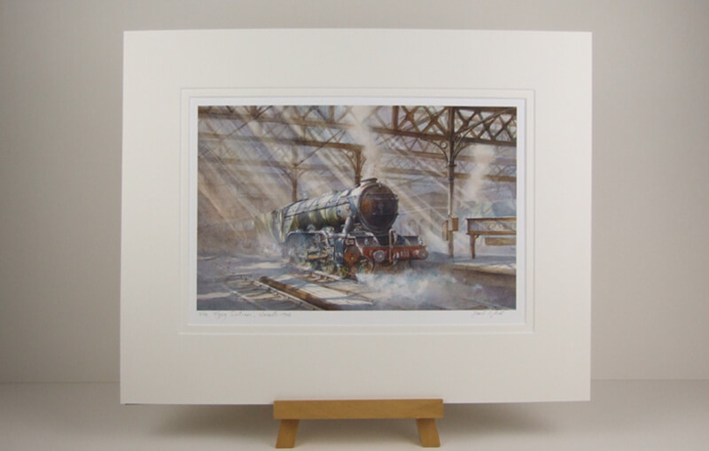 Flying Scotsman steam train picture by artist David Bell