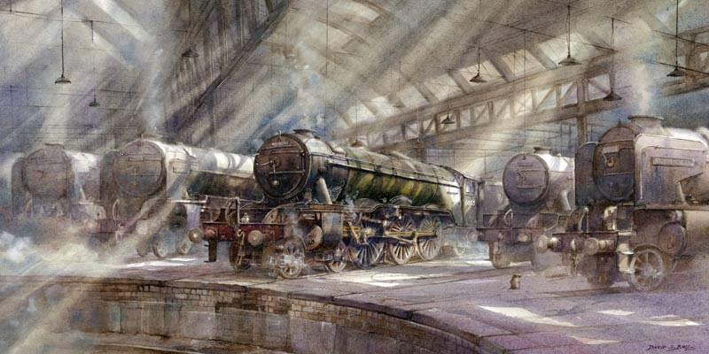 fine art print of Flying Scotsman steam train at York roundhouse by artist  David Bell
