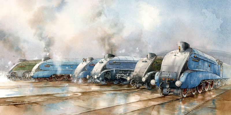 The Gathering of the Shildon Six steam locomotive fine art print by artist David Bell