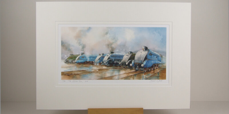 The Gathering locomotive steam train print mounted for sale