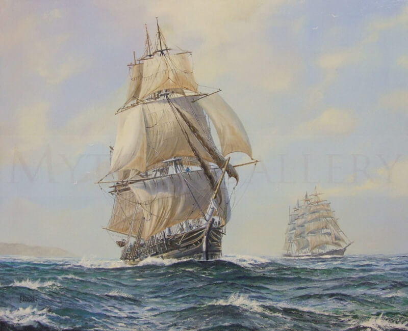 Tall ships painting by marine artist Dennis Chapman