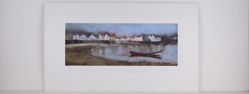 Boat on the water at Staithes, North Yorkshire by artist martin jones mounted for sale