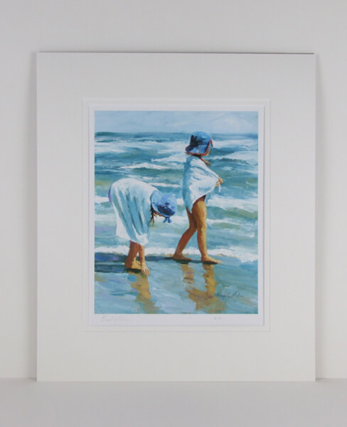 First Day Of Summer children playing on the beach by artist Paul Milner mounted for sale