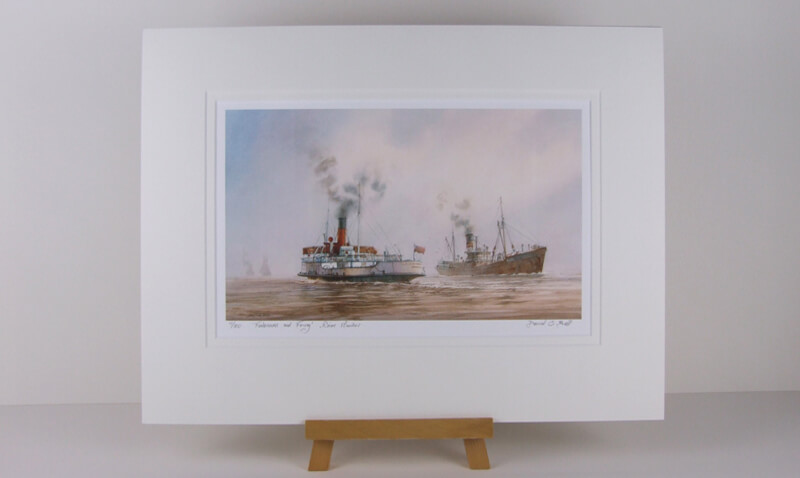 Lincoln castle humber ferry and fishing trawler arctic explorer picture by David Bell mounted for sale