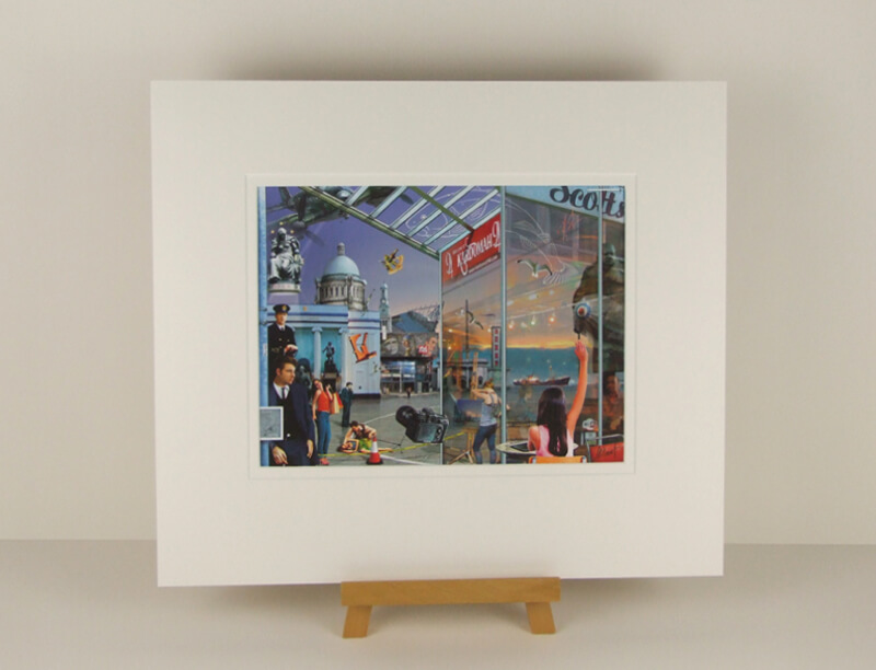 Hull Central picture by artist Gary Saunt mounted for sale
