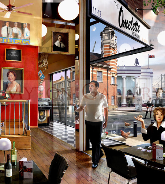 The Omelette Restaurant, Hull picture by artist Gary Saunt
