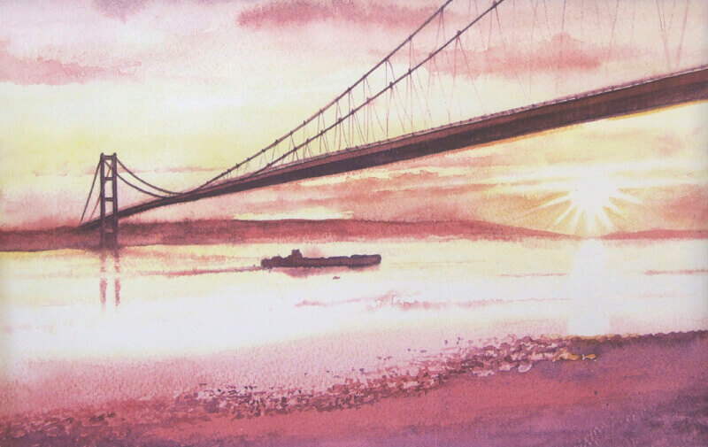 The Humber Bridge Hull print by Geoff Woolston at Myton Gallery Hull