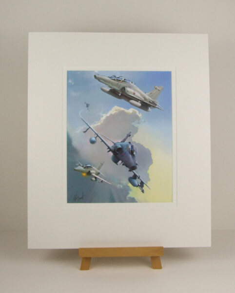 Hawk jet plane print by Gary Saunt mounted for sale