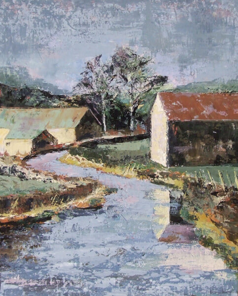 heather burton wet day in the dales painting at myton gallery hull