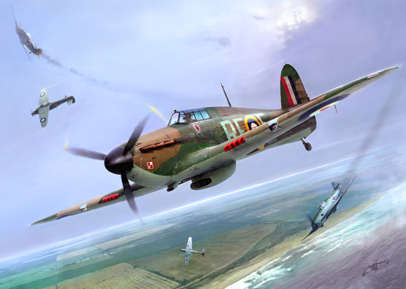 Hurricane fighter plane picture by artist Gary Saunt