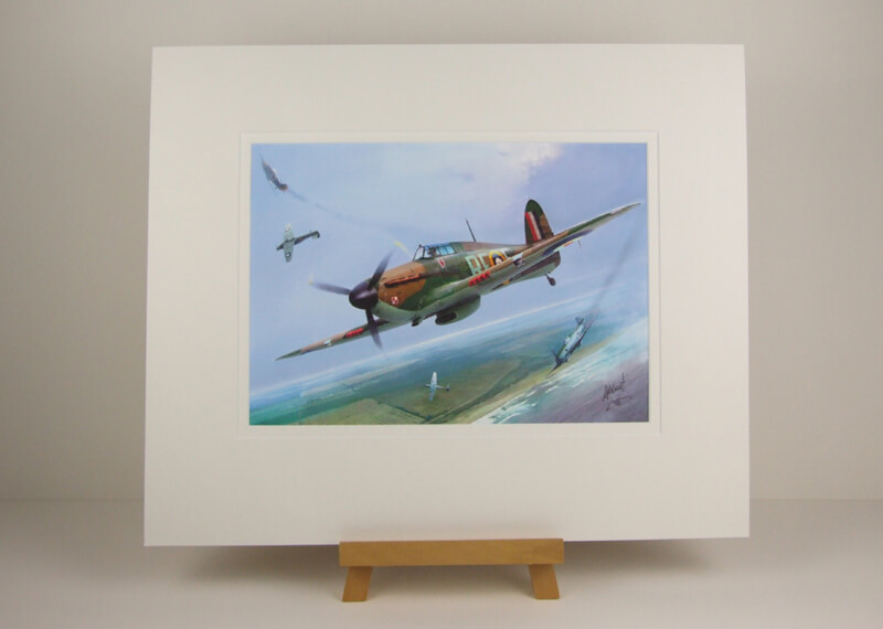 Hurricane fighter plane picture by artist Gary Saunt mounted for sale
