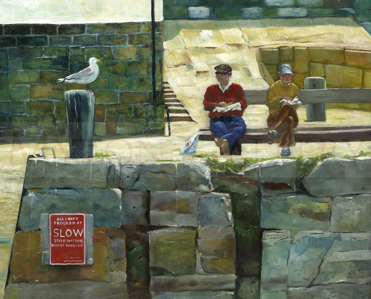 Whitby Harbour Fish And Chips picture by artist John Brine