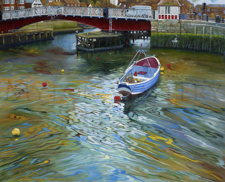 Whitby Harbour, Red Bridge, North Yorkshire picture by artist John Brine