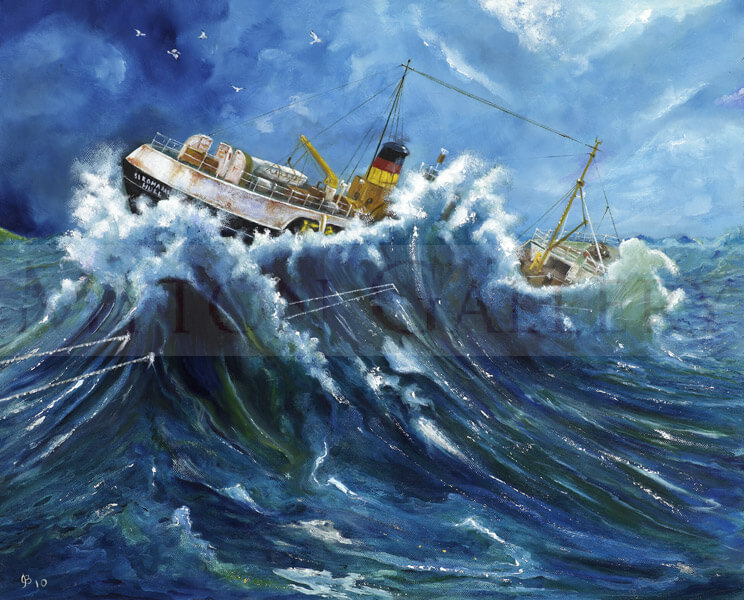 Trawler in Rough Seas picture by artist John Brine