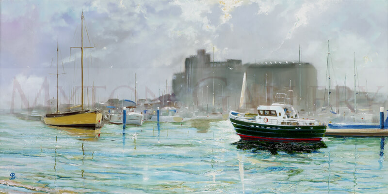 Hull Marina, Summer picture by artist John Brine