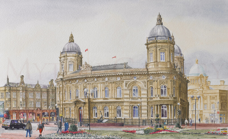 Dock Offices, Maritime Museum, Hull original painting by artist John Gledhill