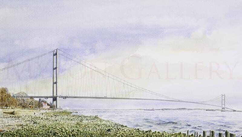 Humber Bridge Looking East original painting by artist John Gledhill