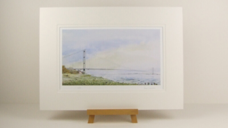 Humber Bridge Looking East picture by John Gledhill mounted for sale