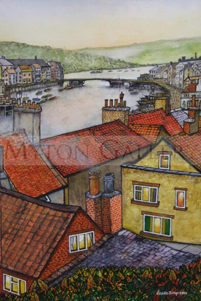 leslie simpson whitby above the rooftops original painting