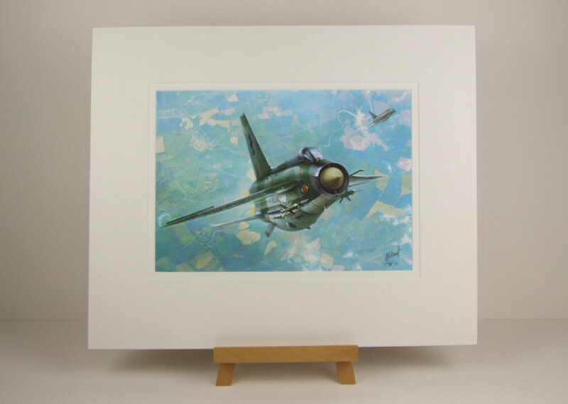 Lightning jet fighter plane print by artist Gary Saunt mounted for sale