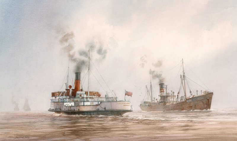 Lincoln castle humber ferry and fishing trawler arctic explorer picture by David Bell at Myton Gallery Hull