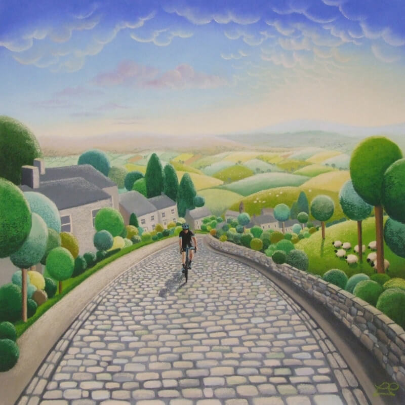 'Lone Rider' cyclist. Print by Yorkshire artist Lucy Pittaway