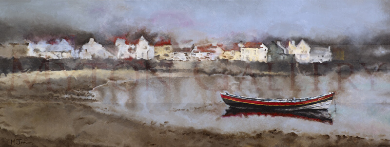 Boat on the water at Staithes, North Yorkshire by artist martin jones