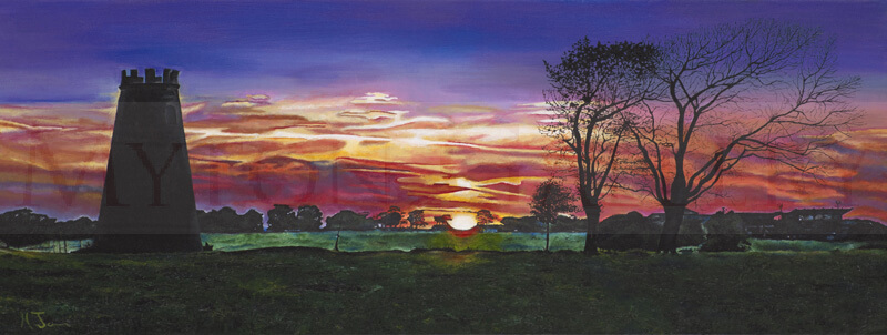 Sun Setting over Beverley Westwood, East Yorkshire picture by artist Martin Jones