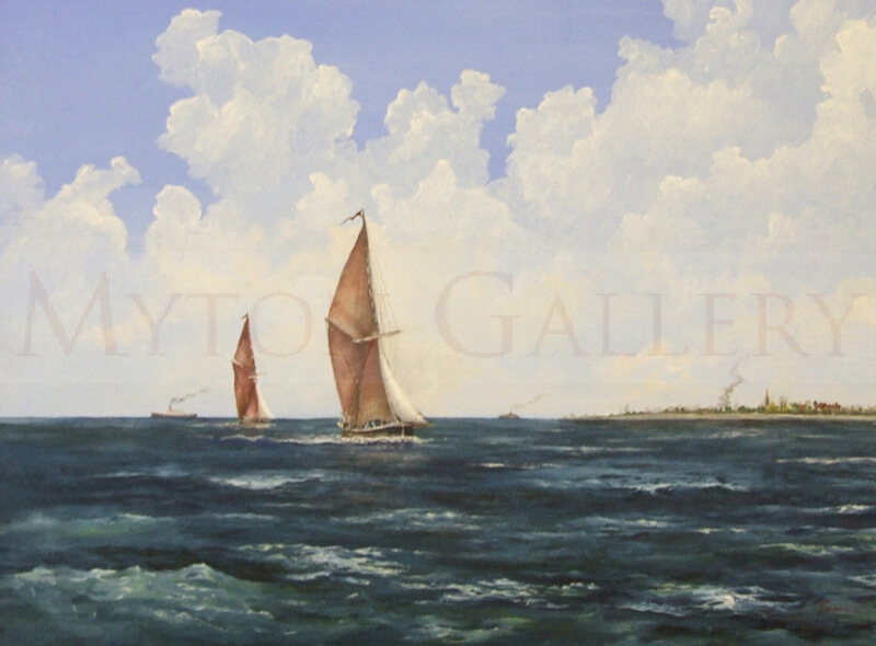 artist nick tindall sailing barges original painting