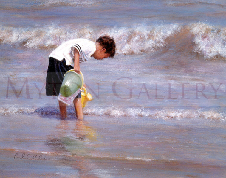 Filling the Pool picture of a boy paddling in the sea by Paul Milner