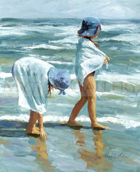 First Day Of Summer children playing on the beach by artist Paul Milner