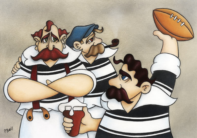 Humorous Hull FC cartoon fine art picture by artist Peter Bell mounted for sale