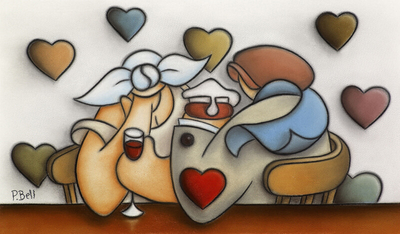 Original pastel painting Tipsy by artist Peter Bell