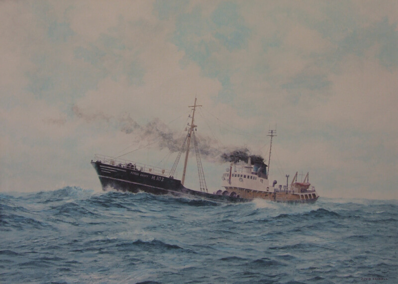 Peter Scott H103 trawler painting at Myton Gallery Hull