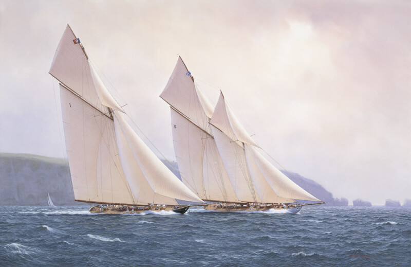 Britannia and Westward classic yacht picture by marine artist Roger Davies