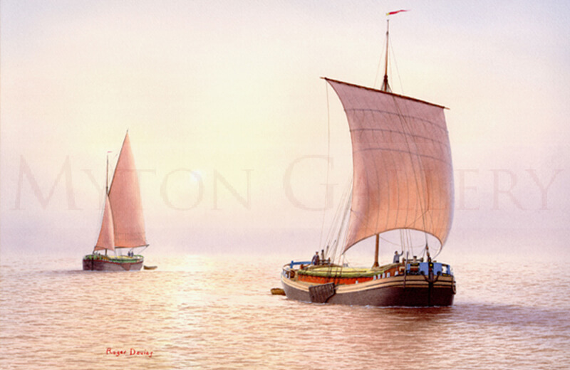 Keel and Sloop Barges on the River Humber picture by marine artist Roger Davies