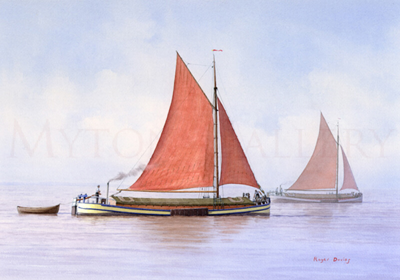 Humber Barge Ivie picture by marine artist Roger Davies