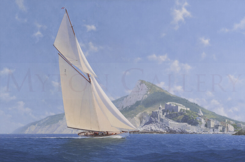 Lulworth Yacht off Portovenere, Italy original oil painting by marine artist Roger Davies