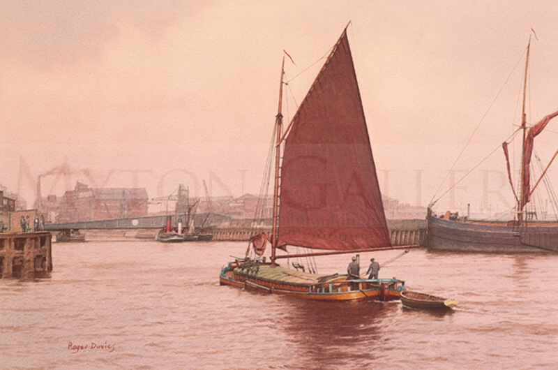 Sloop Phyllis and Ha'Penny Bridge, Hull picture by artist Roger Davies