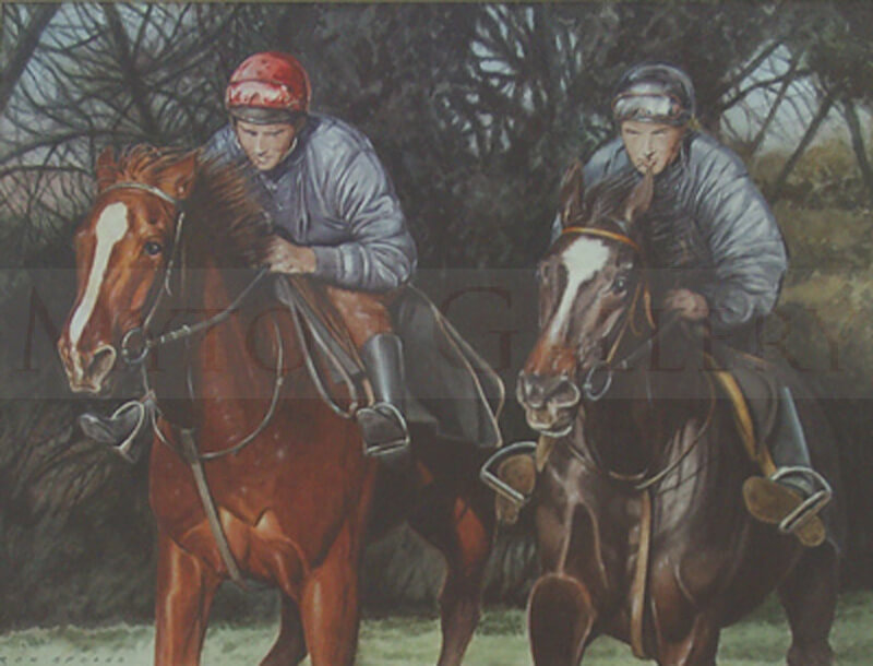 Race Horses in Training in the gallops painting by artist Ron Spoors