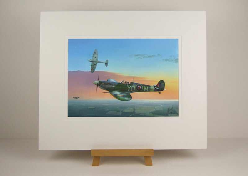 Spitfire aviation print by Gary Saunt mounted for sale