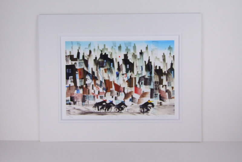 Sue Howells 'Four Go Cycling' mounted print new release at Myton Gallery, Hull