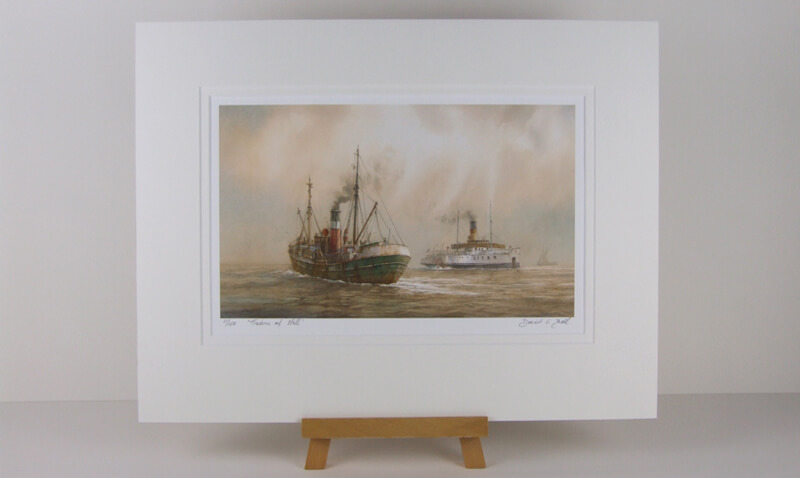 Lincoln castle humber ferry and fishing trawler lord montgomery picture by David Bell mounted for sale
